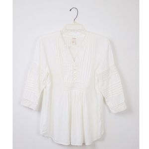 Sundance Rayon White Embroidered Tunic Blouse
